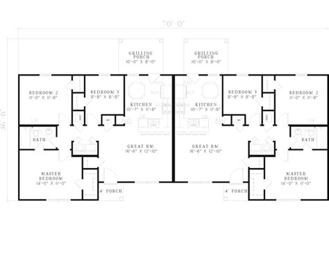ranch duplex floor plans winfield ranch style duplex plan 055d 0395 house plans and more