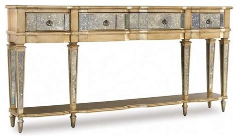 thin accent table hooker furniture sanctuary antique mirror and gold thin