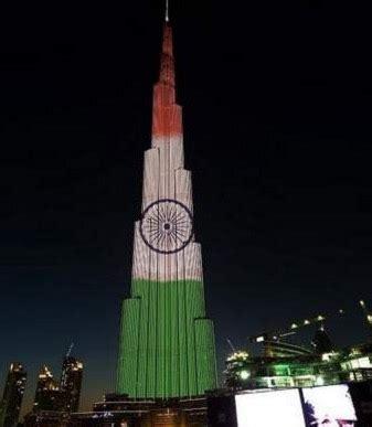 burj khalifa glows with tri colour national flag to