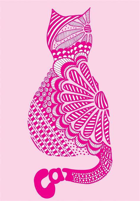 Cat Print pinkshoesart zendoodle cat print