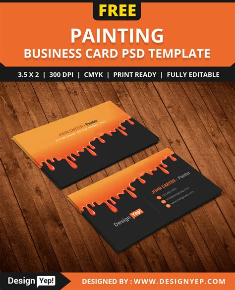 free painting business card psd template designyep