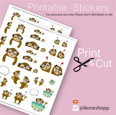 cute planner stickers free printable cute monkey planner stickers printable stickers for planner