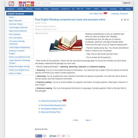 reading comprehension test online free free english reading comprehension tests and exercises