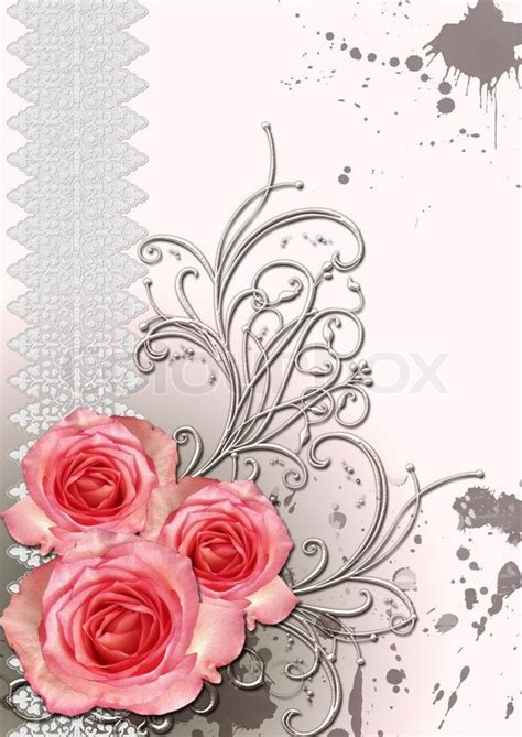 Paper Roses For Card - card for congratulation or invitation with paper and