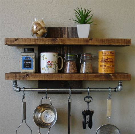 kitchen wall shelving industrial rustic kitchen wall shelf spice rack with by