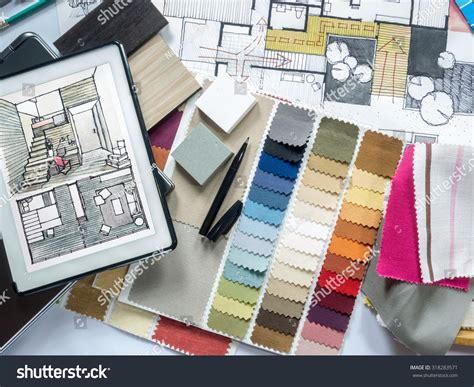 interior design equipment top view of architect interior designer working table