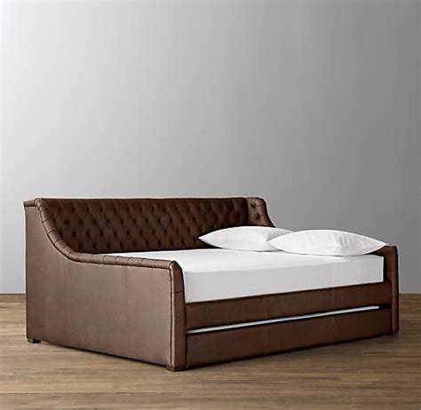 Leather Daybed With Trundle Devyn Tufted Leather Daybed With Trundle