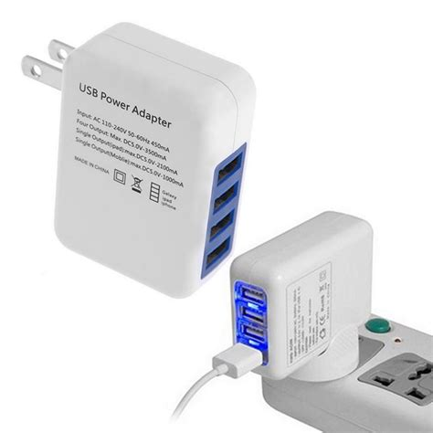 Ac Portable Usb 2 1a 4 ports usb portable home travel wall charger us