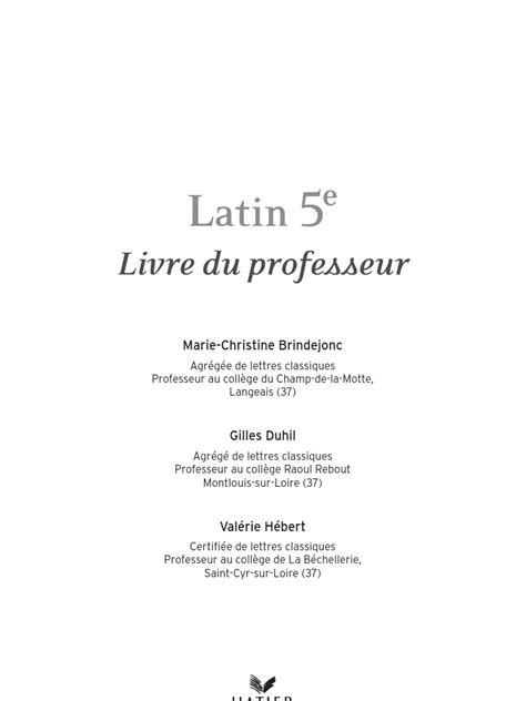 Latin 5ème - Livre du Prof