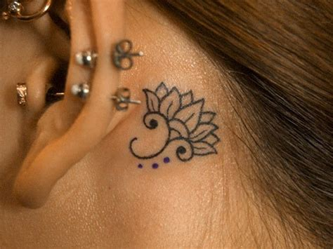 small flower tattoos behind ear beautiful small black ink lotus flower
