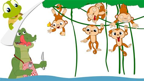 five cheeky monkeys swinging in a tree five little monkeys nursery rhyme youtube
