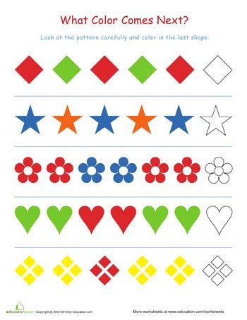 kindergarten pattern assessment finish the pattern 1 worksheets math and teaching ideas