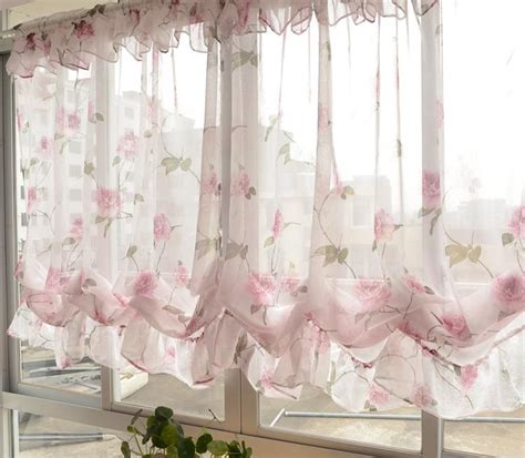 pull up curtains country pastrol floral sheer pull up balloon austrian cafe