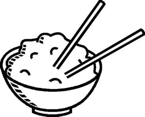 rice bowl black and white clip art at clker com vector
