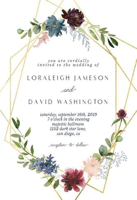 Geometric & Flowers   Wedding Invitation Template (free