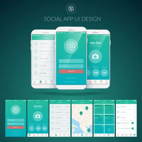 ui pattern download mobile social app interface design vector free vector in