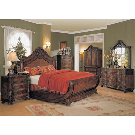 Yuan Tai Jasper 4pc Queen Size Sleigh Bedroom Set In Slay Bed Set