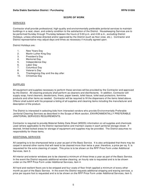 Microsoft Word Rfp Janitorial Svcs Draft Janitorial Scope Of Work Template