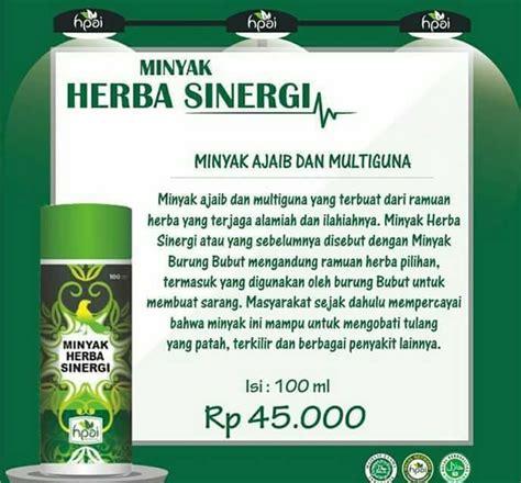 Minyak Herbal Sinergi minyak herba sinergi hpai surabaya jual minyak bubut