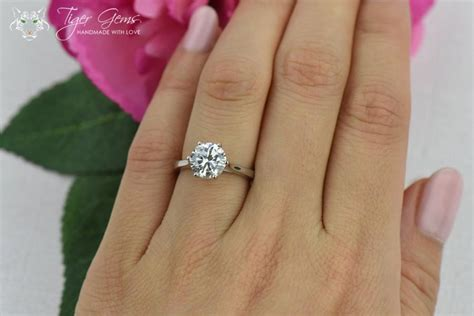 2 carat wedding ring 2 ct classic solitaire engagement ring low profile ring