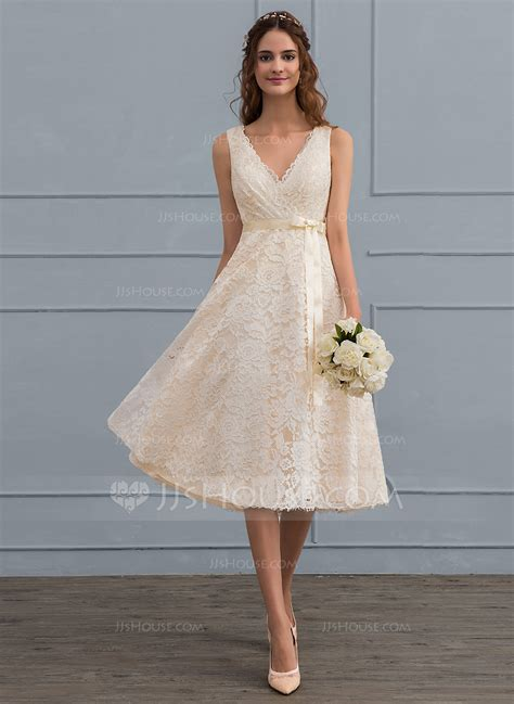 Spezielle Brautkleider by A Line Princess V Neck Knee Length Lace Wedding Dress With