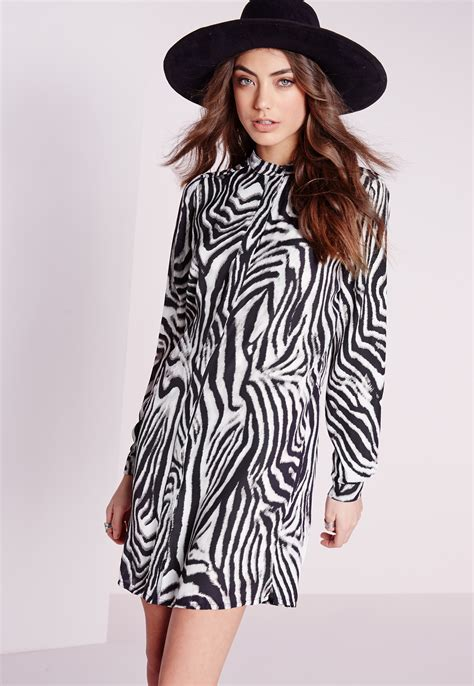 zebra pattern clothes missguided collarless shirt dress zebra print in black lyst