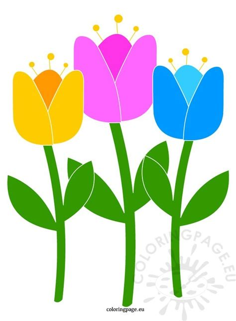 printable tulips flowers tulip flower coloring page