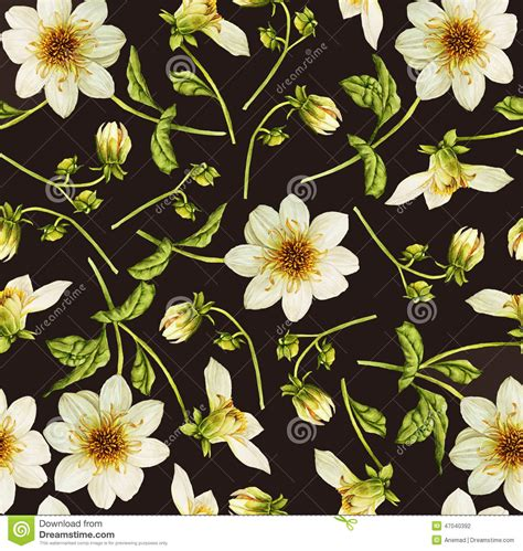watercolor botanical pattern dahlia flower watercolor pattern stock illustration