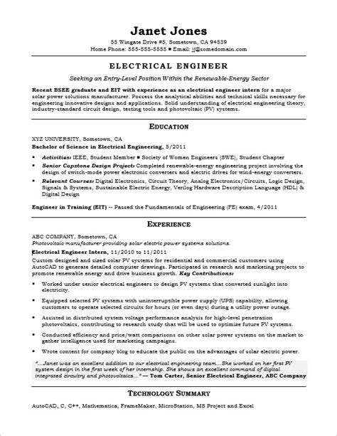 Resume Exles Entry Level Engineering Entry Level Electrical Engineer Sle Resume
