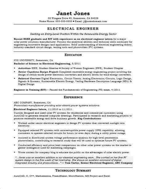 Entry Level Electrical Engineer Sample Resume   Monster.com