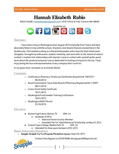 brand ambassador resume sle brand ambassador resume