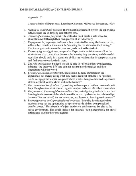 entrepreneurship research paper the effects of experiential learning and entrepreneurship