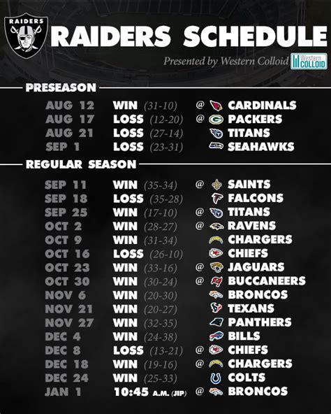 printable raiders schedule nfl schedule printable nfl football schedule 2017 2018