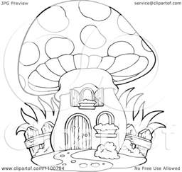 clipart outlined mushroom house wooden fence royalty free vector illustration