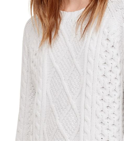 Cardigan 112226001 White Knitted lyst burch cable knit crewneck sweater in white