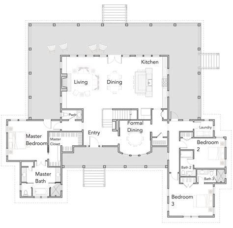 open floor plan home ranch style house plans with wrap around porch open floor
