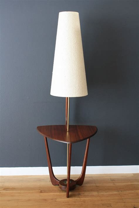 modern floor l with table mid century modern walnut floor l with side table at