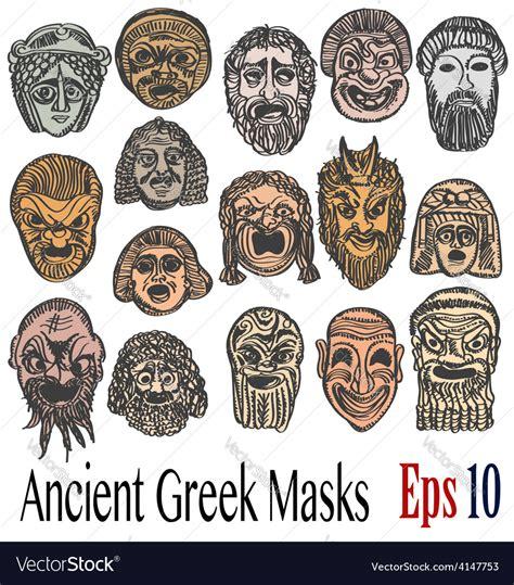 ancient greek masks royalty free vector image vectorstock