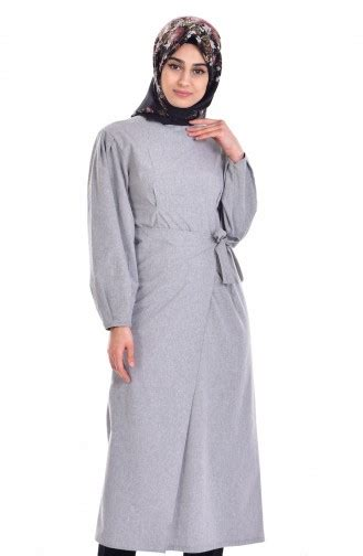 Deltarn Daily Tunik Grey Fashion Muslim Tunik Muslim Baju Atasan Musl light gray tunic 210114 03