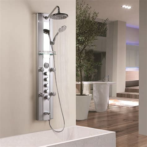 aluminum panel tower fixed overhead shower handset body