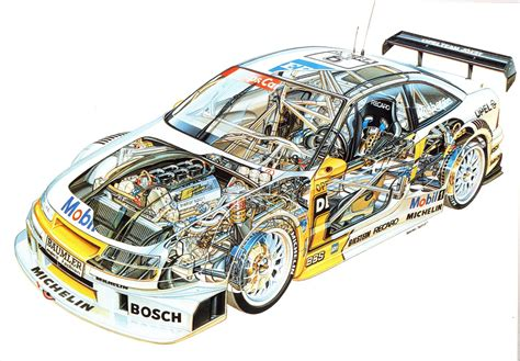 opel calibra race car opel calibra dtm race car cutaway drawing in high quality