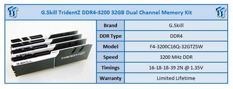 Gskill Ddr4 Tridentz Pc25600 32gb 2x16gb Dual F4 3200c16d 32gtz g skill tridentz ddr4 3200 32gb ram kit review