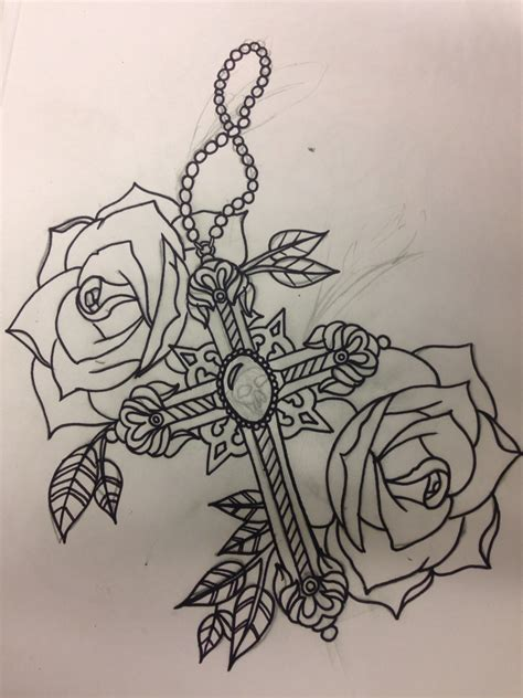 cross and rose tattoo designs cross and roses design by kayleigh at mandala