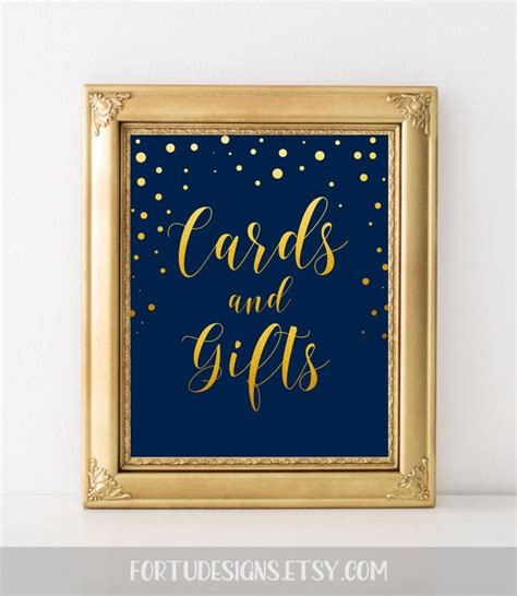 Card And Gift Table Sign - elegant wedding sign card reception decor cards and gifts sign cards gifts sign navy