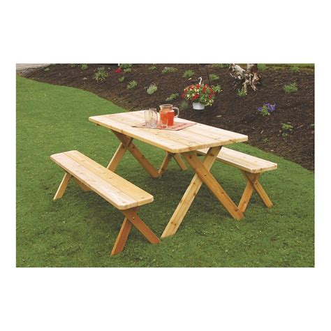 picnic table bench legs 5 western cedar cross leg picnic table with 2 benches