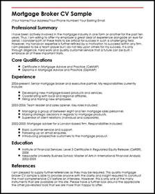 mortgage broker cv sle myperfectcv