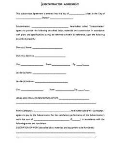 subcontracting agreement template subcontractor agreement template
