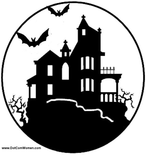 Printable Haunted House Pumpkin Carving Patterns | haunted house pattern free scary halloween pumpkin