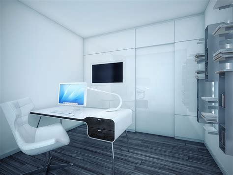 home office design review panel futuristic black and white apartment