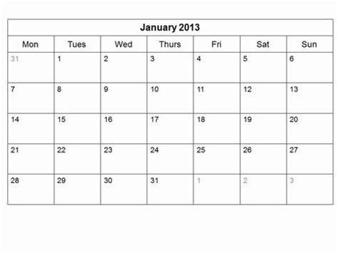 free printable monthly calendar template free 2013 monthly calendar template